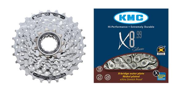 Shimano CS-HG51 cassette 11-30 & KMC X-8-99 ketting aandrijving 8-speed zilver